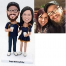 Custom bobbleheads-couple in Denver Bronco jerseys