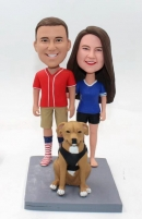 Custom couple bobblehead with dog