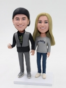 custom couple bobbheads- sports themed cake toppers