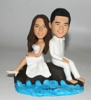 rock and sea wedding bobbleheads