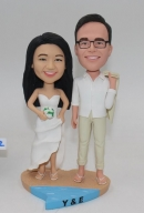 Beach Themed Bobblehead Wedding Cake Toppers