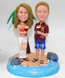 Hawaiian bobble head couple dolls