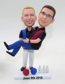 Bowling themed-custom gay wedding bobbleheads