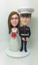 wedding bobbleheads Militay marrige cake toppers