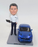 Custom male bobblehead with car