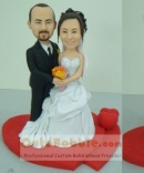 Double red heart bobbleheads cake topper