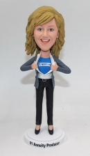Superwoman bobblehead with company logo