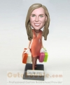 Shopaholic lady bobblehead doll