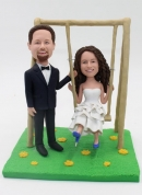 Playing on the swings Wedding Bobbleheads