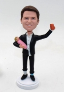 Custom bobble head doll- Daddy holding baby