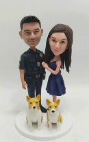 Custom couple bobbleheads-husband police officer