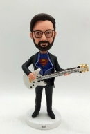 Custom bobblehead-Superman playing bass guitar