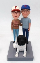 Custom couple bobbleheads with pet-Best gift