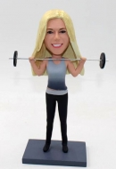 Custom female weightlifting bobblehead