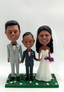 Bobblehead Wedding Cake Toppers- Family of Three