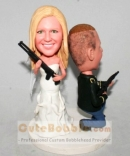 Holding Rifle Bobblehead Wedding Cake Topper