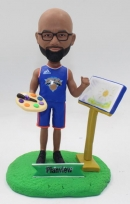 Basketball player/painter bobblehead custom