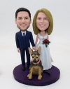 Custom bobbleheads-wedding cake toppers with a dog