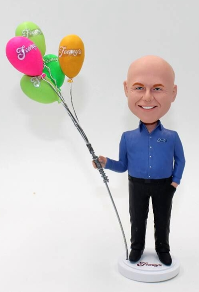custom bobbleheads-Man with balloons-as a gift