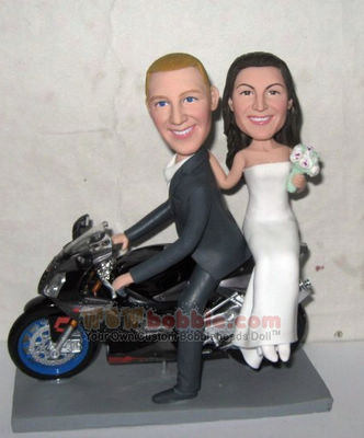 Motorcyce wedding cake toppers