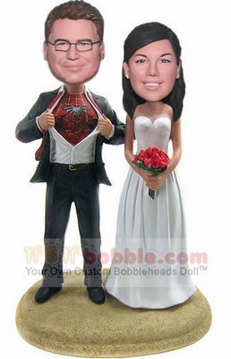 Spiderman theme wedding Bobbleheads