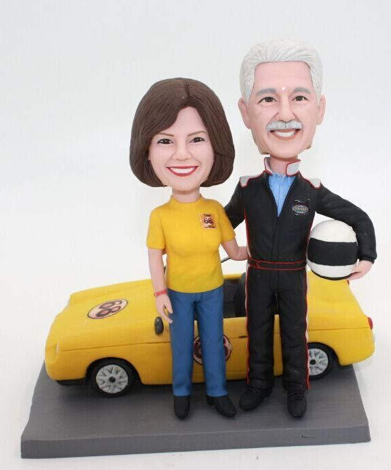 Custom couple bobbleheads with Racing Car