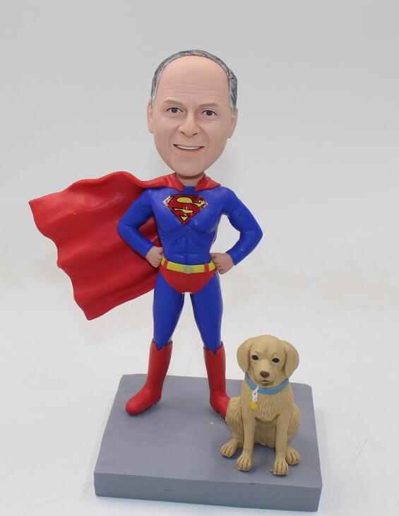 Custom superman bobblehead with dog