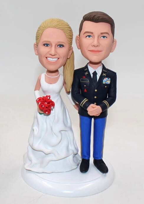 Military Bobblehead Wedding Cake Toppers