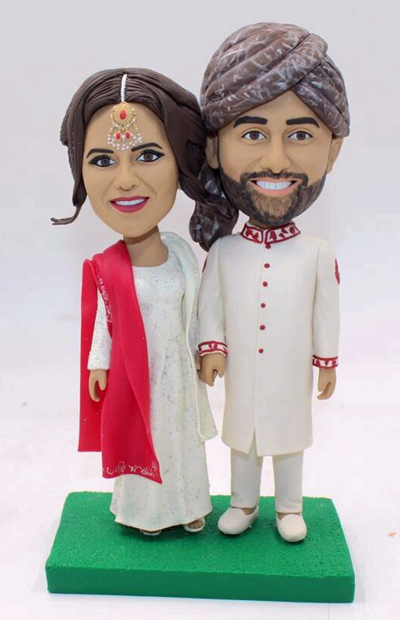Indian wedding style bobbleheads cake topper