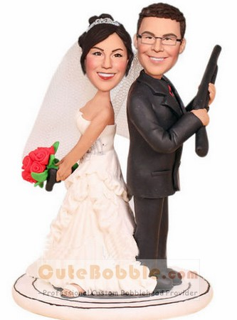 Shotgun Wedding Bobbleheads Cake Topper